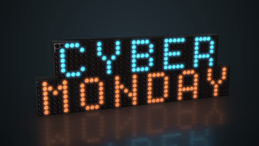 Cyber Monday LED display glowing on dark background in 4K