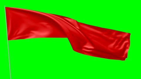 Long blank plain red flag on flagpole flying and waving in the wind, 3D animation with green screen