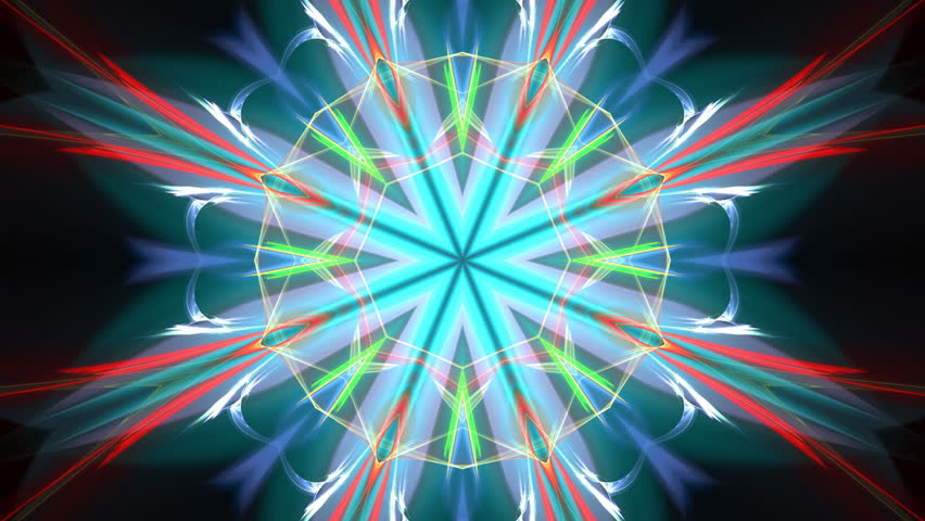Brightly coloured kaleidoscope in blue, green and red - Colourful abstract flame fractal animation, seamlessly looping.