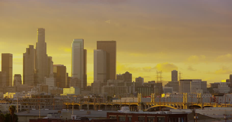 DTLA skyline view at sunset from East LA sixth street bridge, Los Angeles, California   Shutterstock HD Video #32687962