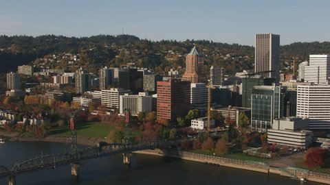 Portland, Oregon circa-2017, Aerial shot of Portland and Willamette River. Shot with Cineflex and RED Epic-W Helium.
