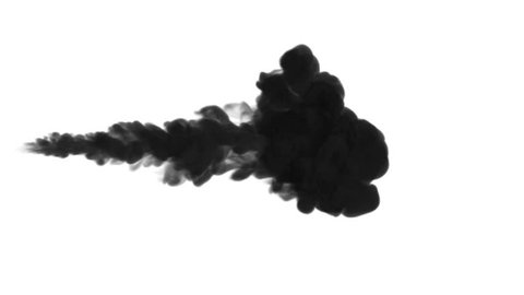 One ink flow, infusion black dye cloud or smoke, ink inject on white in slow motion. Writing ink falls in water. Inky background or smoke backdrop, for ink effects use luma matte like alpha mask