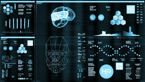 Light blue futuristic interface/Digital screen/Detailed abstract background. Blinking and switching indicators of command center computer,processing data, AI.
