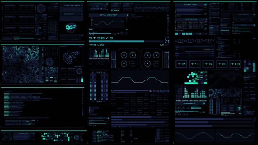 Futuristic Control Panel. Monitoring On HUD Multi-windows With Ui Elements Cyber Map, Progress