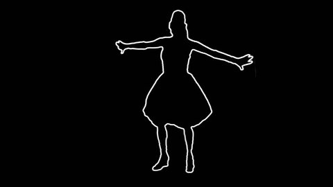 Neon silhouette dancer master with alpha channel for colorizing