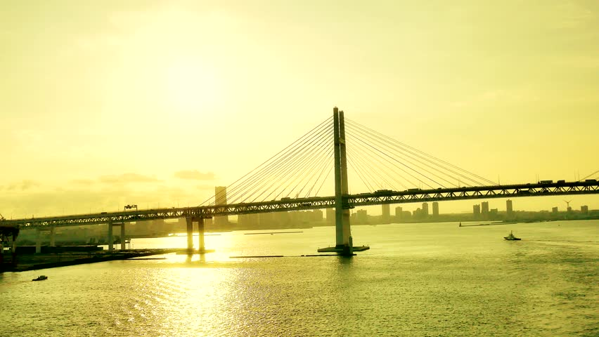 Wide shot of the busy Japan yokohama bridge | Shutterstock HD Video #32728882