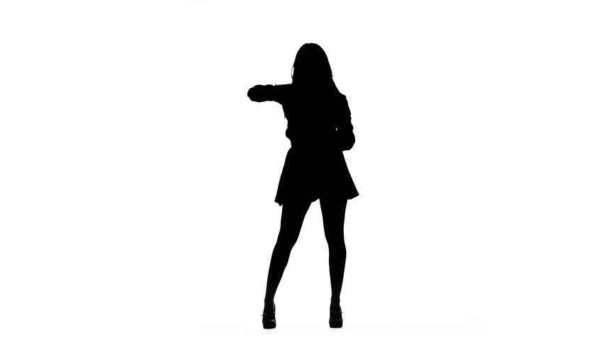 Girl is dancing a sexy dance. Silhouette. White background