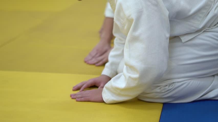 in kimono sitting on tatami of martial arts.