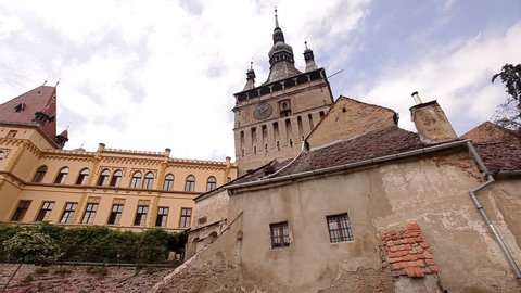 The clock tower and gates of Sighisoara, the only inhabited citadel in the world