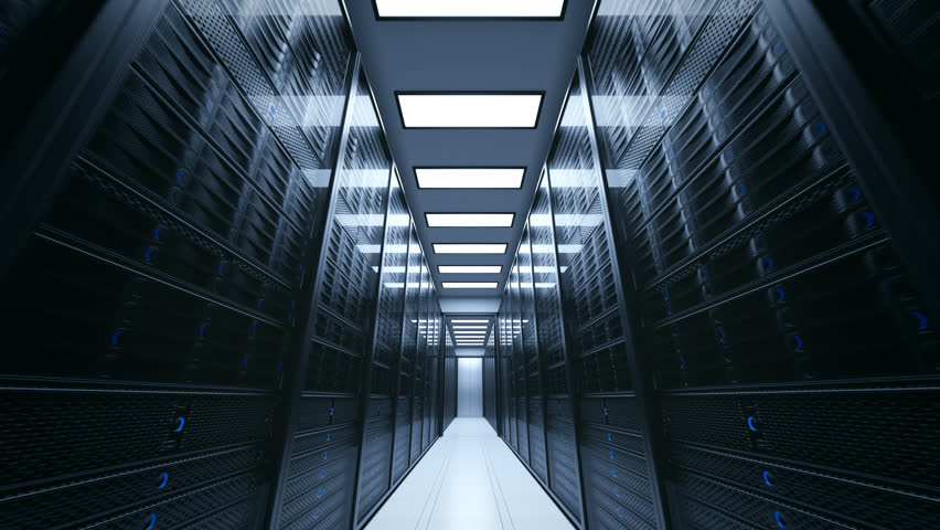 Loopable shot with camera passing through the server rooms | Shutterstock HD Video #32741842