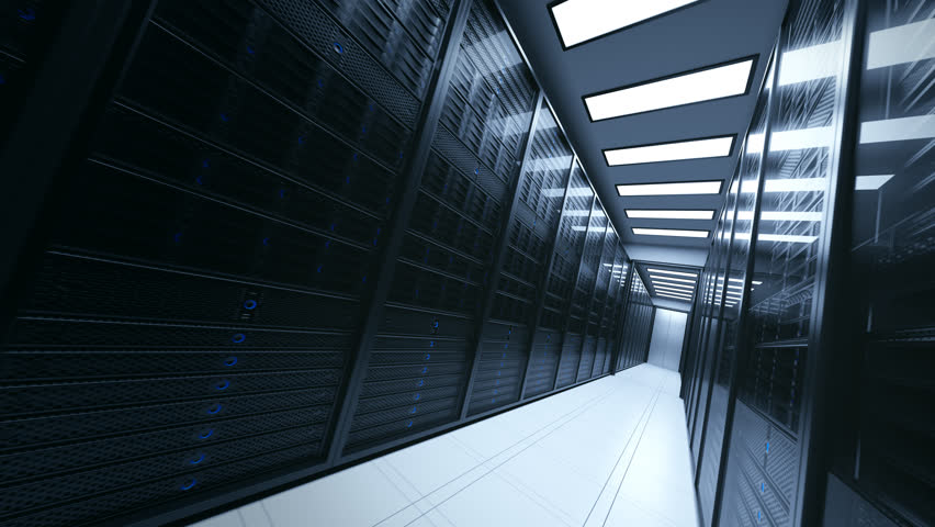 Loopable shot with camera passing through the server rooms | Shutterstock HD Video #32741866
