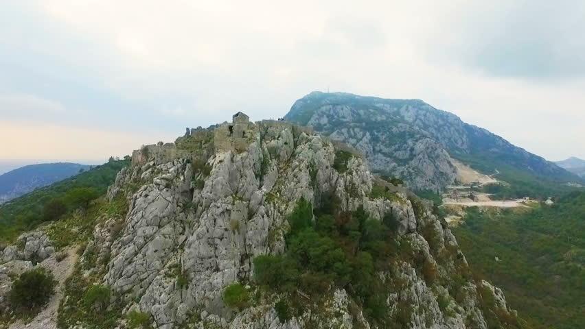 Aerial: Flight over a mediaeval fortress Haj Nehaj Montenegro #32755762
