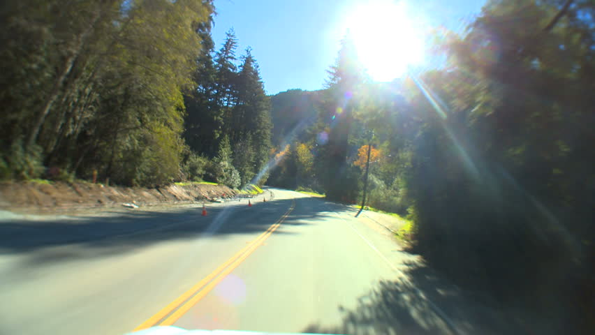 """""""Point-of-view"""" driving the Cabrillo Highway"""