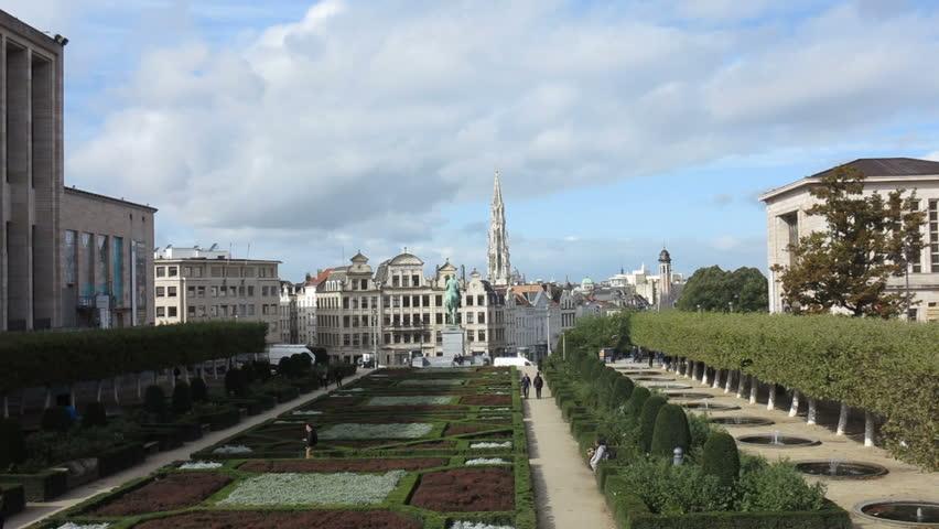 Bruxelles, Belgium, october 2017, view of gardens in Mont des Arts hill of arts