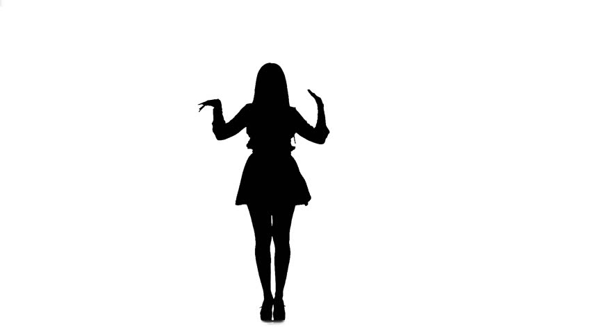 Girl is dancing a sexy dance. Silhouette. White background. Slow motion