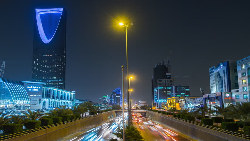 Riyadh, Saudi Arabia. April, 5, 2017. View of Kingdom Tower and night traffic from King Fahd Rd.