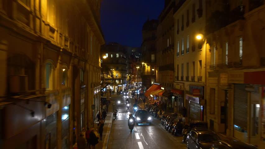 Night time illumination paris double-decker bus ride street panorama 4k france | Shutterstock HD Video #32763514