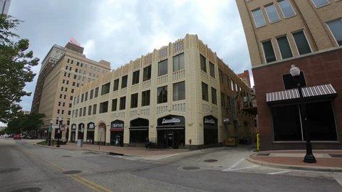 Walk through Tulsa downtown district - empty streets with no traffic - TULSA / OKLAHOMA - OCTOBER 15, 2017