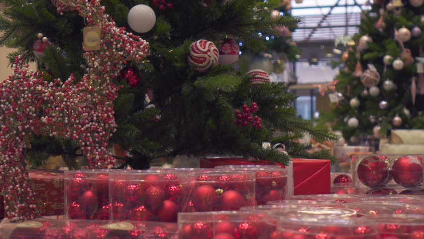 New Year and Christmas decoration sale in supermarket selective focus | Shutterstock HD Video #32808856