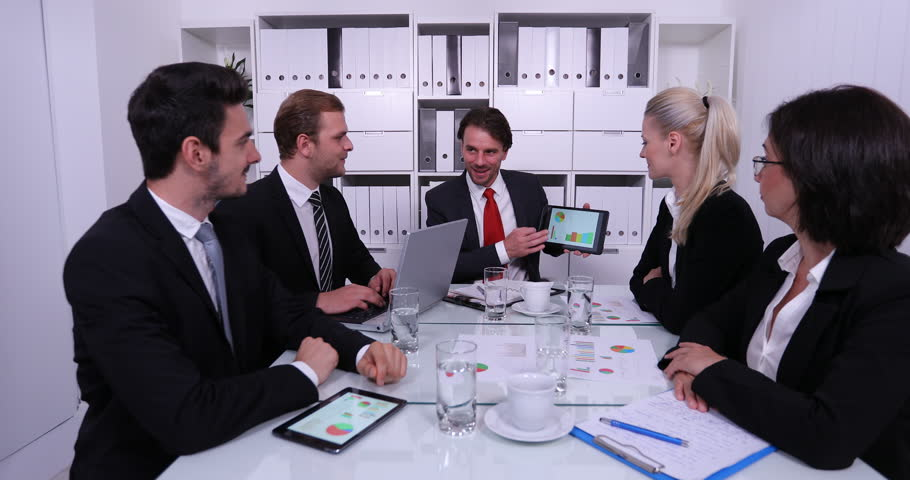 Happy Director Man Show Pie Chart Graph on Digital Tablet Team Applaud Good Job