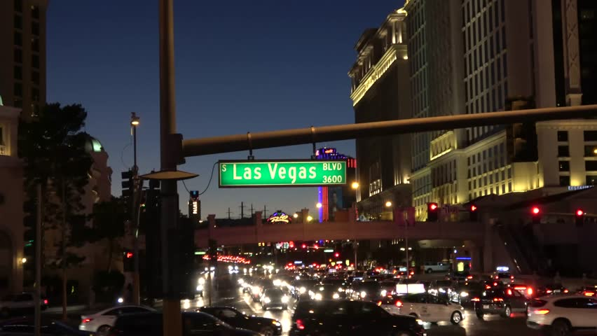 Street sign Las Vegas Boulevard by night - LAS VEGAS / NEVADA - OCTOBER 12, 2017 | Shutterstock HD Video #32843704
