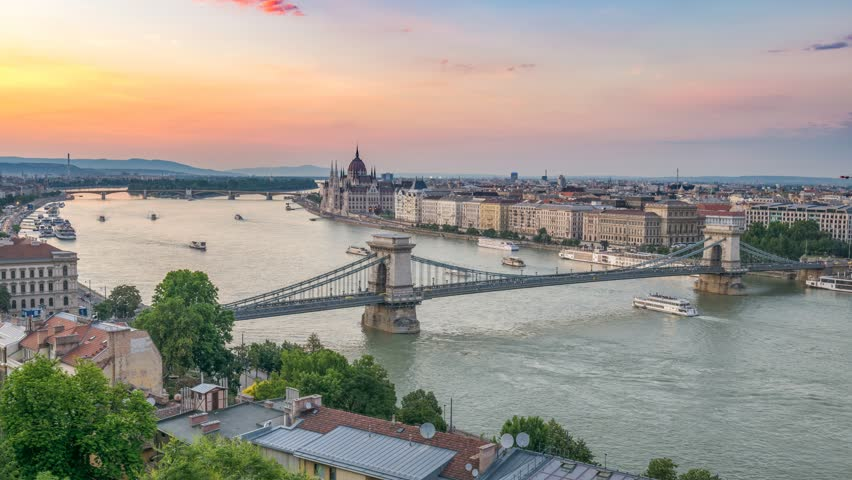 Budapest city skyline at Danube River day to night timelapse, Budapest, Hungary 4K time lapse