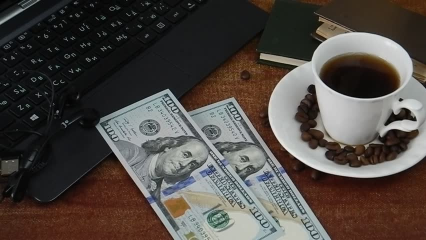 Coffee, money, laptop and headphones  on video. Business concept. Payment online concept | Shutterstock HD Video #32858719