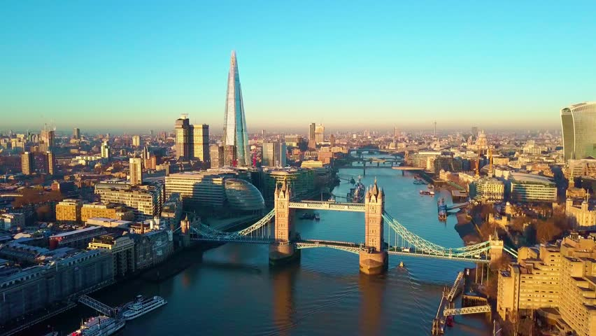 Aerial panning video of London and the River Thames