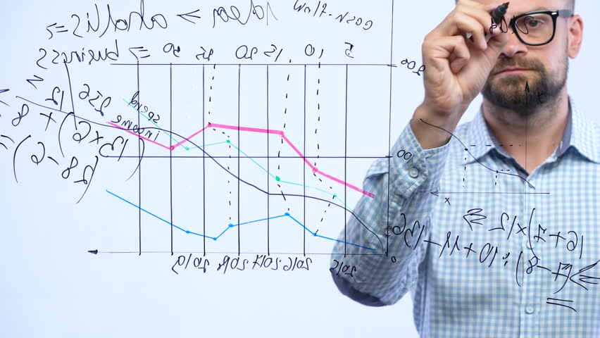 Man draws various growth charts, calculating prospects for success in a modern glass office | Shutterstock HD Video #32912179