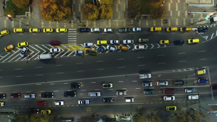 Aerial night view of cars and street traffic in the city downtown. Varna, Bulgaria | Shutterstock HD Video #32917402