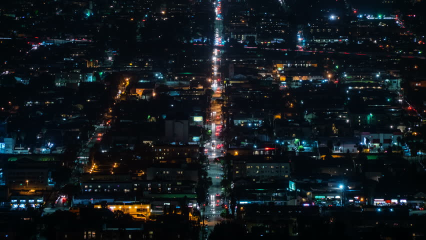 Beautiful view of Los Angeles from Griffith Observatory. Shinning city lights and traffic. California. Timelapse. | Shutterstock HD Video #32946598