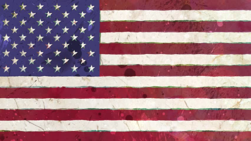 stop motion of drawn grunge USA flag cartoon animation seamless loop - new quality national patriotic colorful symbol video footage