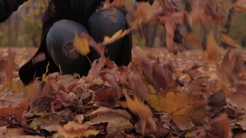 Woman crouching throws a bunch of autumnal leaves into the air