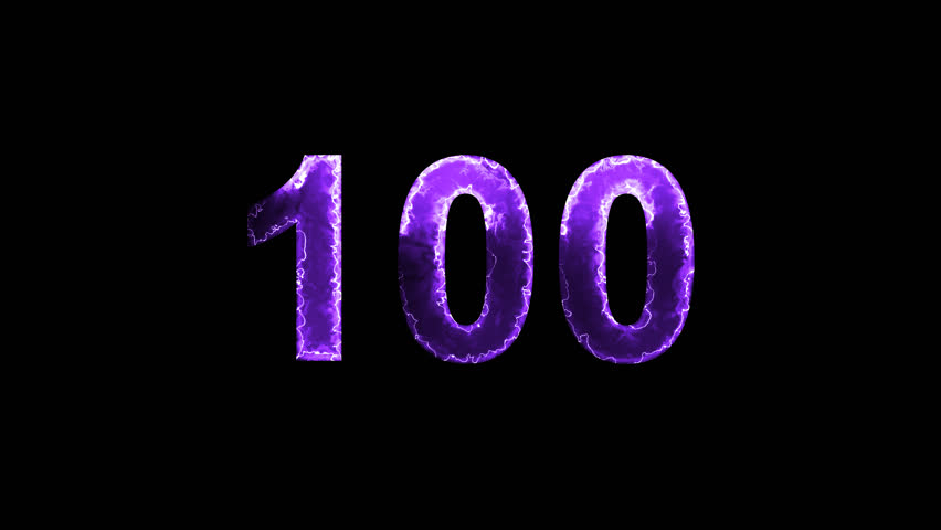 Luminous and shimmering haze inside the letters of the number one hundred 100. Transparent, Alpha channel | Shutterstock HD Video #32978179