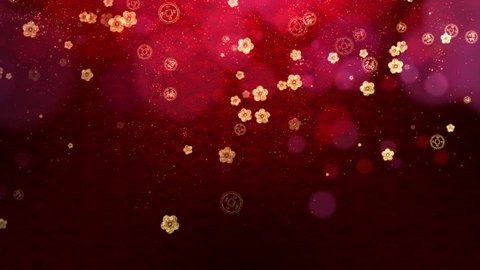 Chinese New Year background with cherry blossom flowers and Chinese coins falling for good luck and prosperity