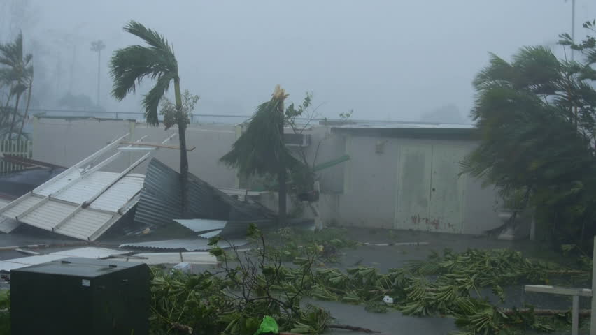San Juan, Puerto Rico - September 2017: Hurricane Maria wind fury destroys house ceiling