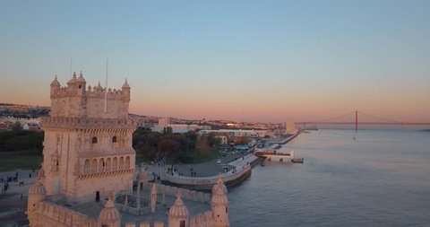 Magical aerial Belem tower sunset view from above in Lisbon, Portugal