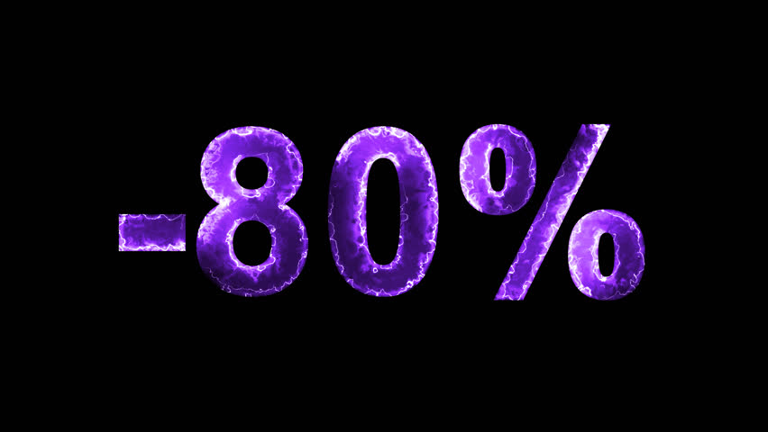Luminous and shimmering haze inside the letters of the sale, discount, price, promotion, offer, promo, marketing, percent, tag, sale tag, -80%. Transparent, Alpha channel | Shutterstock HD Video #33019759