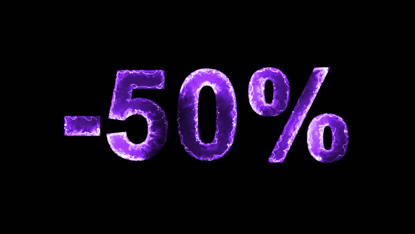 Luminous and shimmering haze inside the letters of the sale, discount, price, promotion, offer, promo, marketing, percent, tag, sale tag, -50%. Transparent, Alpha channel | Shutterstock HD Video #33019792