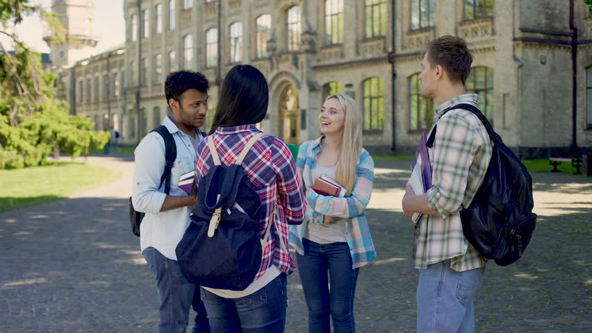Group of cheerful students actively communicating standing in university yard | Shutterstock HD Video #33020584