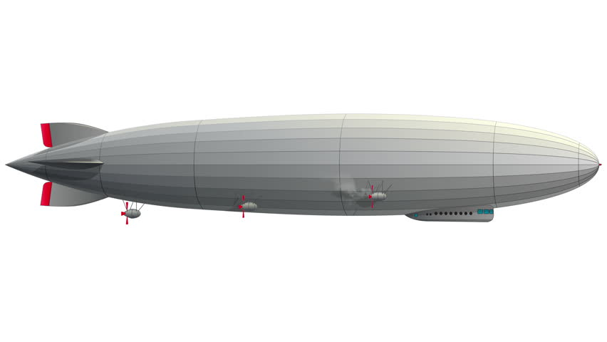 Legendary huge zeppelin airship filled with hydrogen. Flying balloon animation. Big dirigible, spinning propellers, rudder.