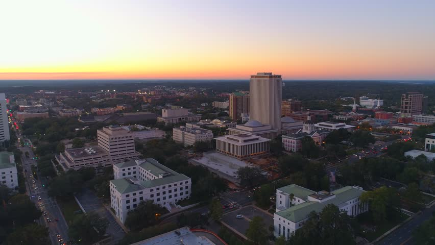 Twilight aerial Tallahassee Florida State Capitol Building 4k 24p | Shutterstock HD Video #33060892