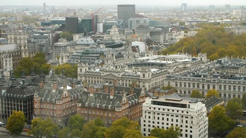 Aerial view of London HMRC Whitehall and Foreign Office with beautiful architecture.