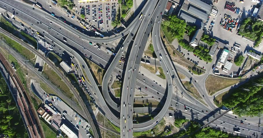 Kyiv Intersecting Highways Cars Rush Circling Drone Moving Down 4k Metro Station ''Chernigivska''. | Shutterstock HD Video #33063748