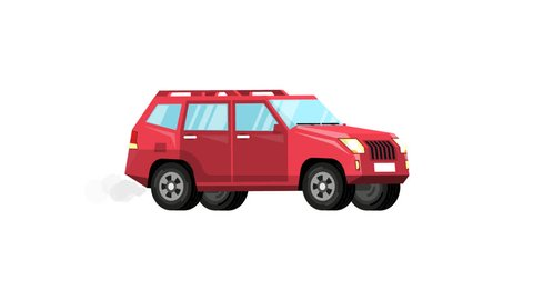 Red SUV car in motion. Looped animation with alpha channel.
