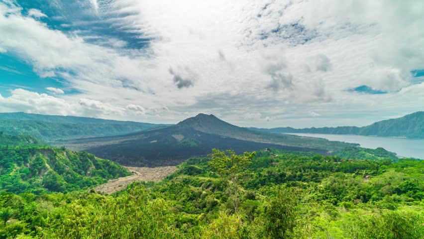 Timelapse Kintamani Volcano under blue sky in Gunung Batur in Bali, Indonesia | Shutterstock HD Video #33073351