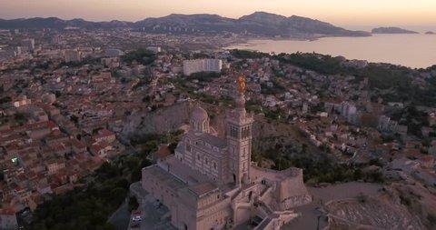 France, Marseille, Notre Dame de la Garde - vue aérienne 4K