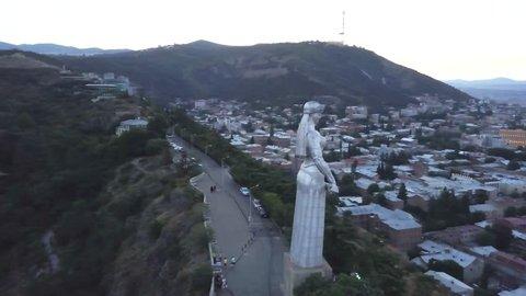 Drone aerial Kartlis Deda Mother of Georgia statue, Tbilisi, Georgia
