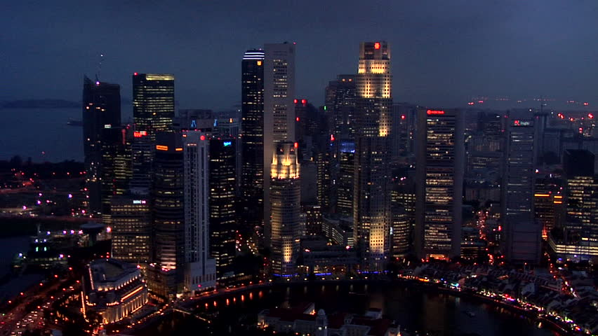 Evening View of the High Rising Buildings of Boat Quay in Singapore | Shutterstock HD Video #3314402
