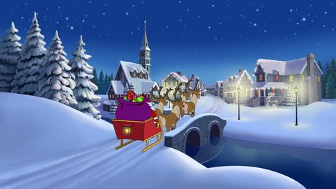 Christmas animated card with hares and Santa Claus